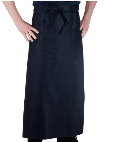 "34"" Length Navy Blue Bistro Apron with One Pocket"