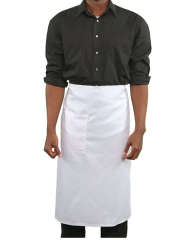 Full length one pocket Bistro Apron White Color