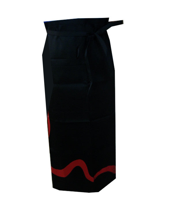 extra size bistro apron, black and red bistro apron, chef bistro apron