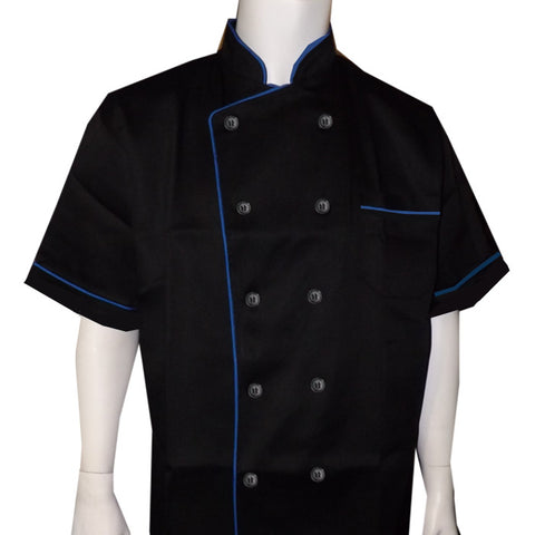black and blue chef coat, chef coat, hibachi chef coat