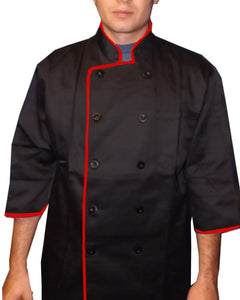 3/4 sleeve black and red chef coat, chef coats, black and red chef coats
