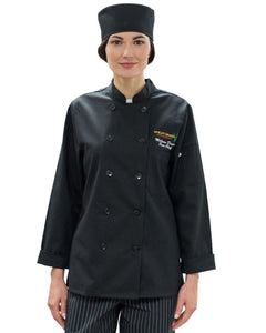 women chef coat, black women chef coat