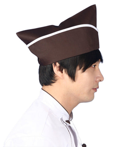 Chef Garrison Hat Coffee Color with White Trim