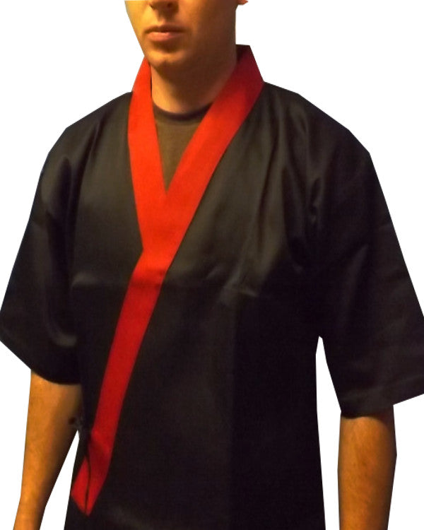 black and red sushi chef coat, sushi server happi coat, happi coats