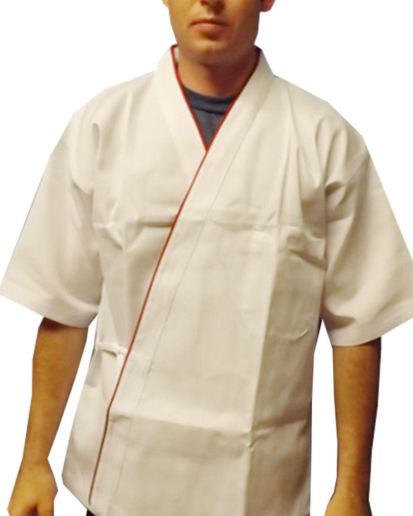 white sushi chef coat, white and red sushi chef jacket, sushi happi coats