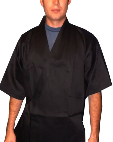 black sushi chef coat, black sushi chef happi coat, sushi chef coat