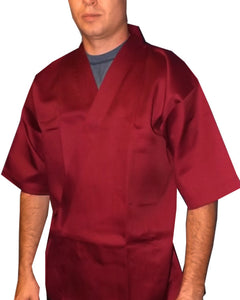 sushi server coat, sushi chef coat, burgundy sushi coat, happi coat