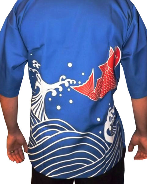 koi fish sushi coat, fish sushi coat, blue sushi chef coat