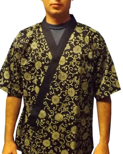 sushi chef happi coat, gold flower sushi chef coat, sushi jacket, sushi coat