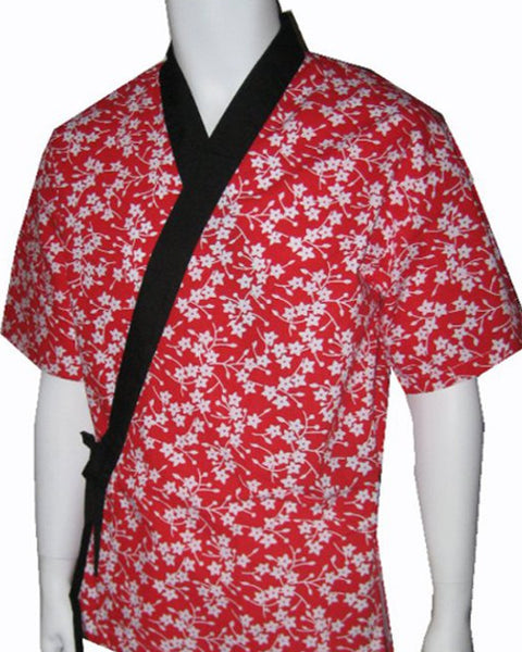 ladies flower sushi server coat, sushi server happi coat