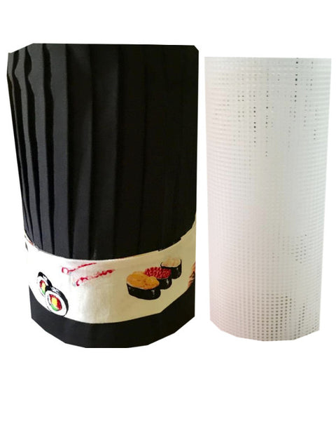 teppan chef hat set, tall hat set, headband hat set, plastic hat holder