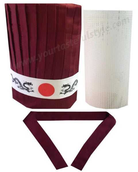 Burgundy Hibachi chef tall hat set, Japanese hibachi chef hat set