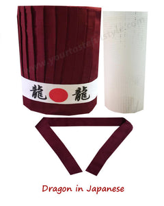 Burgundy Hibachi chef hat and headband, hibachi chef tall hat, headband