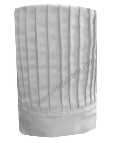 white chef tall hat, white fabric chef tall hat, chef tall hat, pleated chef hat