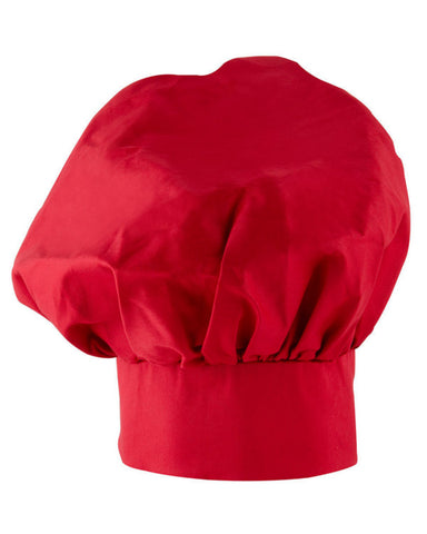 adjustable poplin chef hat, poplin chef hat, red mushroom hat, red chef hat