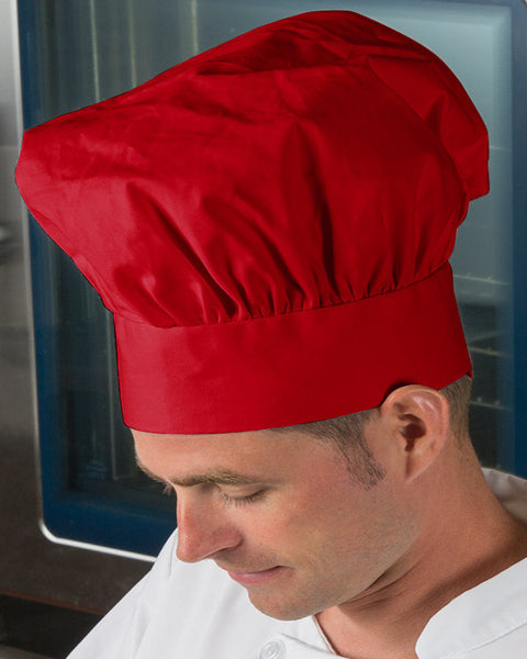 poplin chef hats, chef poplin hat, chef hat, red poplin chef hats