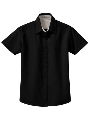 easy care short sleeve shirt, black short sleeve shirt