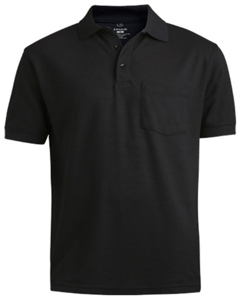 black soft touch polo, black polo shirt, short sleeve polo shirt