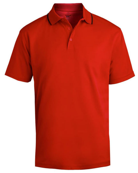 red and black polo shirt, red polo, uv protected polo