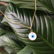 Load image into Gallery viewer, Mother of Pearl Evil Eye Necklace