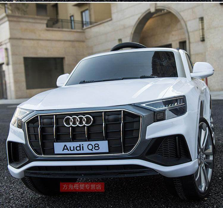 Audi Q8 12V Ride-On Kids Car Remote Control, MP3, Leather Seats, LED Lights - Kids Eye Candy