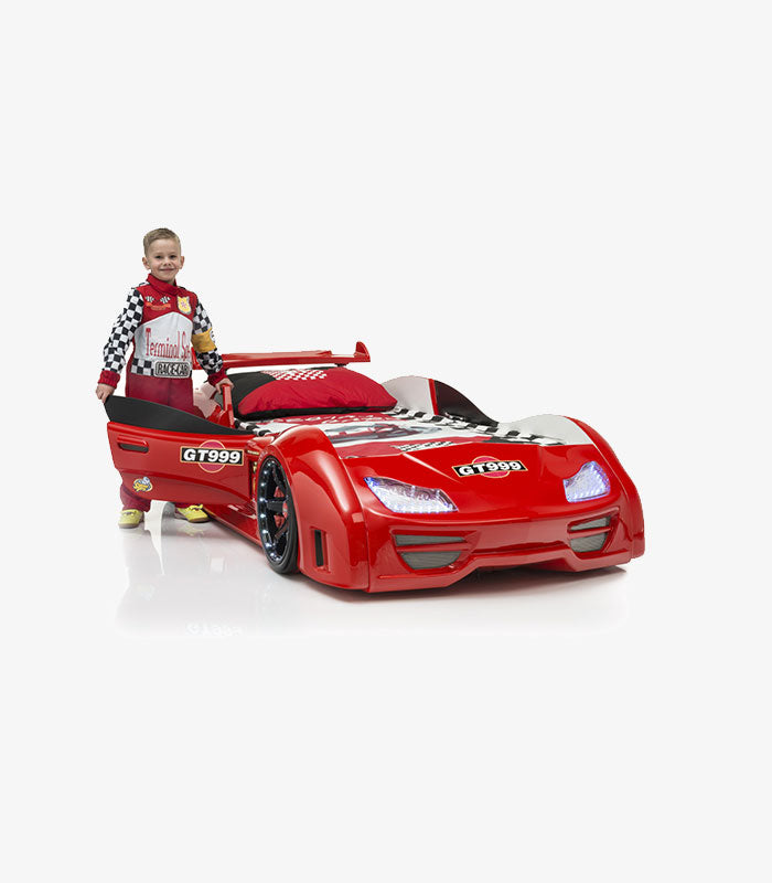 Super Race Car GT999 Kids Bed LED Headlights Remote Control Toddler Twin Size Frame - Kids Eye Candy