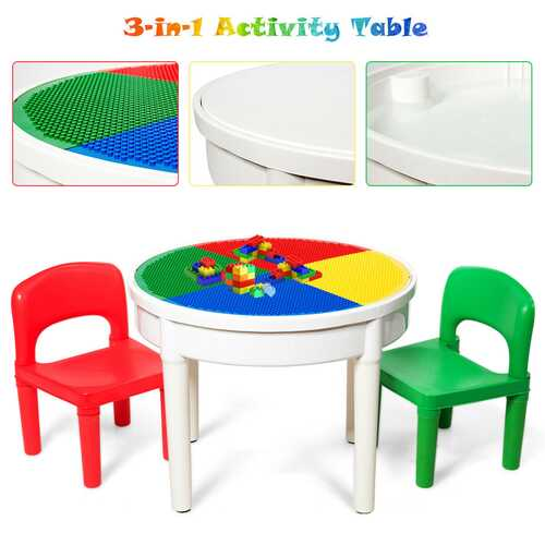 3-in-1 Kids Activity Table and 2 Chairs Set Includes 300 Bricks - Kids Eye Candy