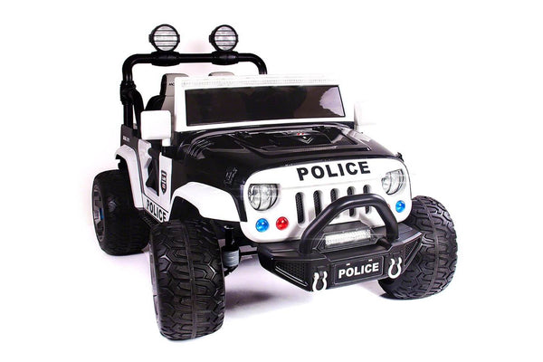 Police Truck Kids 12V Ride-On SUV Two-Seater with Parental Remote, MP3, LED Lights - Kids Eye Candy
