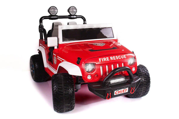 Fire Truck 12V Kids Ride-On Two-Seater Parental Remote, MP3, Leather Seats, LED Lights - Kids Eye Candy
