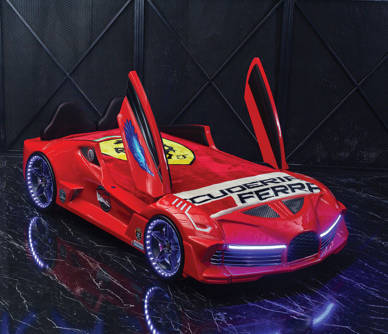 Aero Super Car Kids Bed Lifting Doors Headlights Remote Control Toddler Twin Size Frame - Kids Eye Candy
