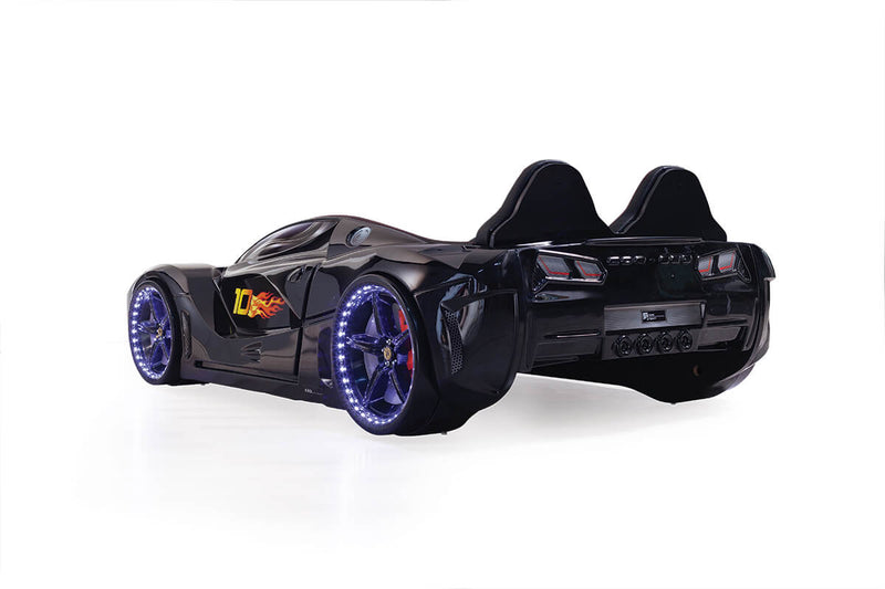 Luxury Moon Kids Race Car Bed w/ LED Headlights Toddler Remote Control Twin Size Frame - Kids Eye Candy