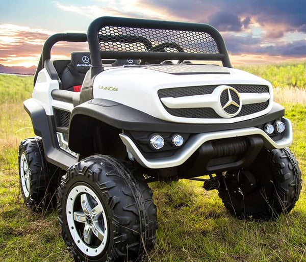 Mercedes Kids 24V Ride-On Unimog Parental Remote, MP4, Leather Seats LED Lights - Kids Eye Candy