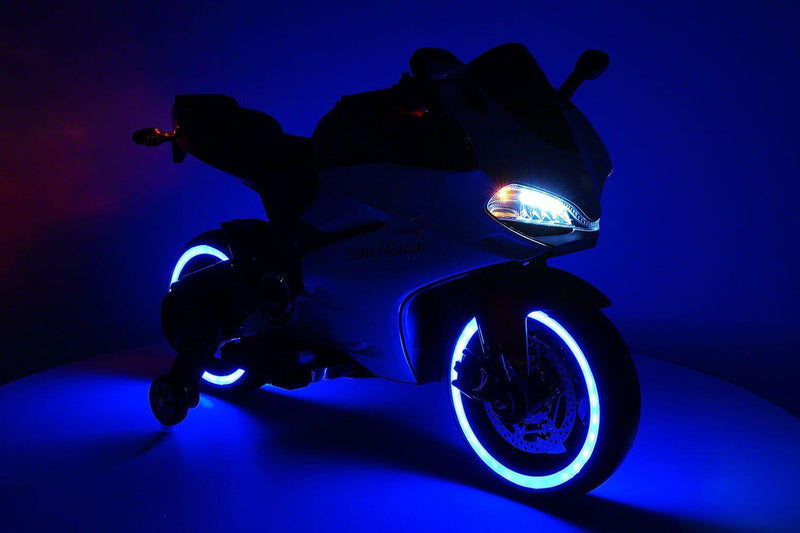 Motorcycle 12V Kids Ride-On LED Lights, MP3, AUX, Training Wheels - Kids Eye Candy