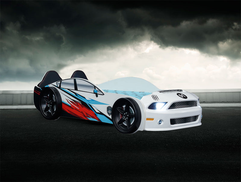 Mustang Race Car Kids Bed LED Headlights Remote Control Toddler Twin Size - Kids Eye Candy
