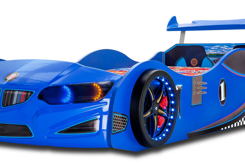GT1 Kids Race Car Bed w/ LED Headlights Remote Control Toddler Twin Size Frame - Kids Eye Candy