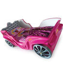 Princess Carriage Kids Car Bed LED Headlights Sound System w/ Twin Mattress - Kids Eye Candy