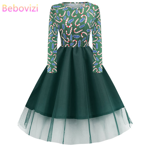 Bebovizi 2019 Autumn Women Dresses Plus Size Elegant Dark Green Christmas Party Dress Vintage Santa Claus Print Shein Vestidos | WAMFAC