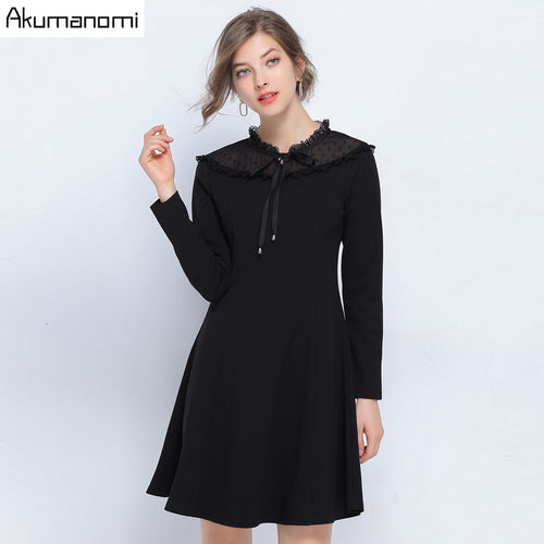 Autumn Spring Patchwork Dress Women Plus Size 5xl-l Casual Square Collar Lace Full Sleeve Vintage Office Party Dress Robe Shein | WAMFAC
