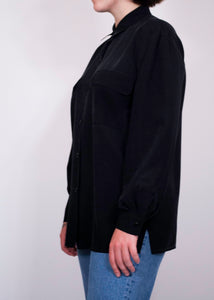 Emily Reger Collared Black Silk Blouse, Large