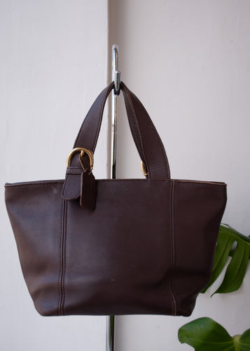 Chocolate Leather Coach Mini Tote