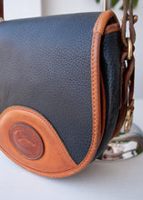 Load image into Gallery viewer, Navy Dooney & Bourke Saddle Bag with Tan Trim