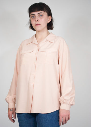 Pale Pink Collared Silk Blouse, Large
