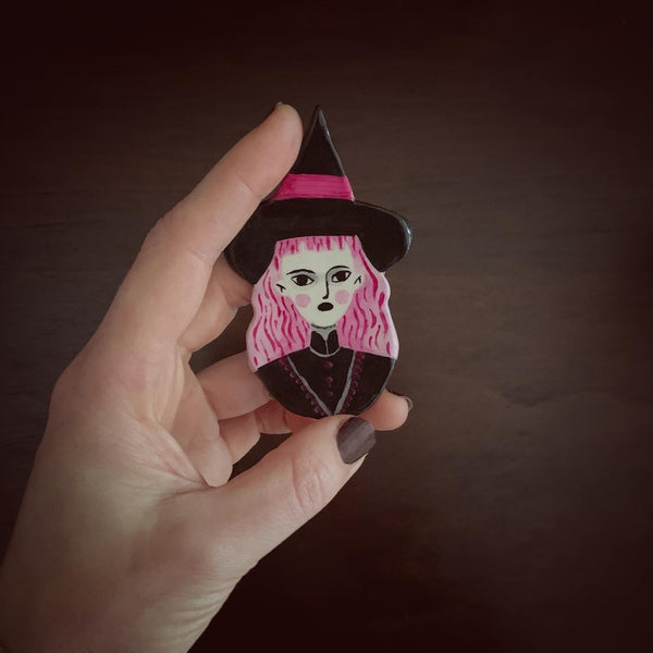Pink Witch Handmade One of a Kind Brooch