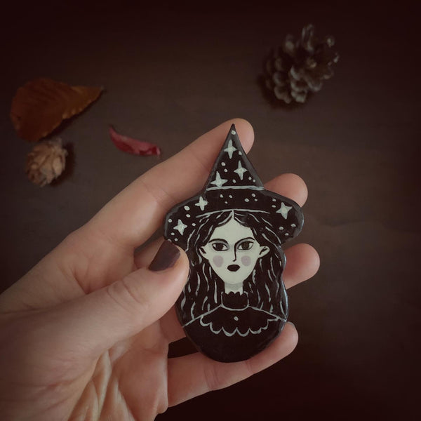 Black Star Witch Handmade One of a Kind Brooch