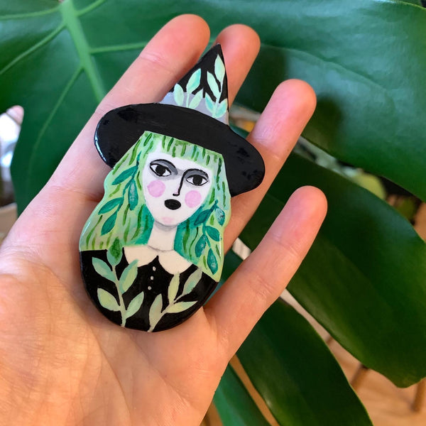 Crazy Plant Witch Handmade One of a Kind Brooch