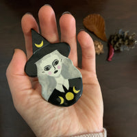Moon Phases Witch Handmade One of a Kind Brooch