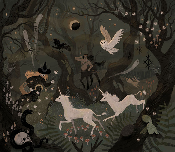 Spooky Forest with Ghosts Giclée Print