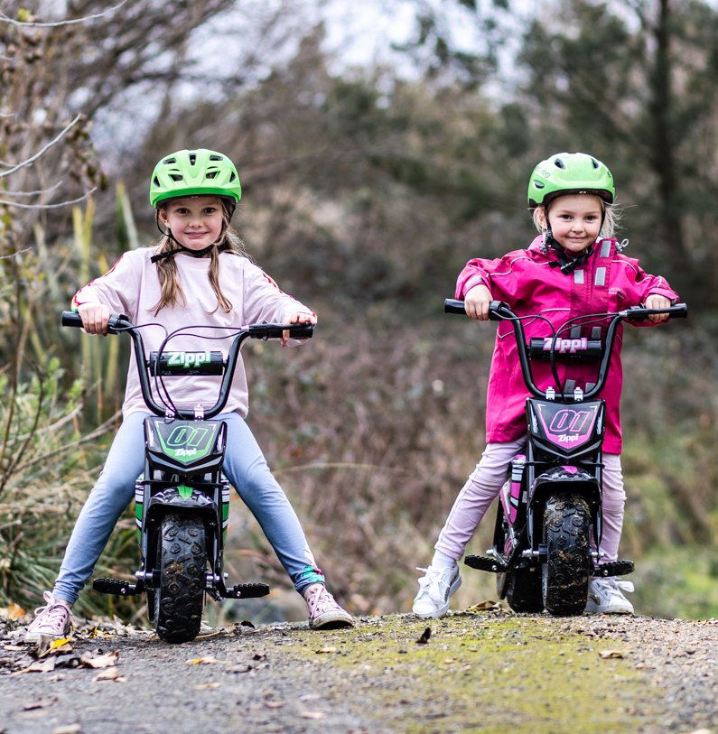 Kids on electric bike