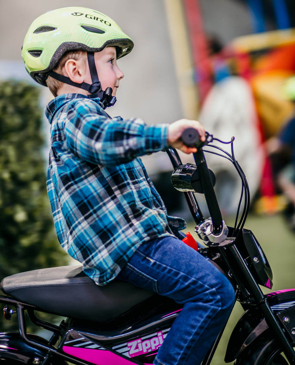 Kids camping with electric bike