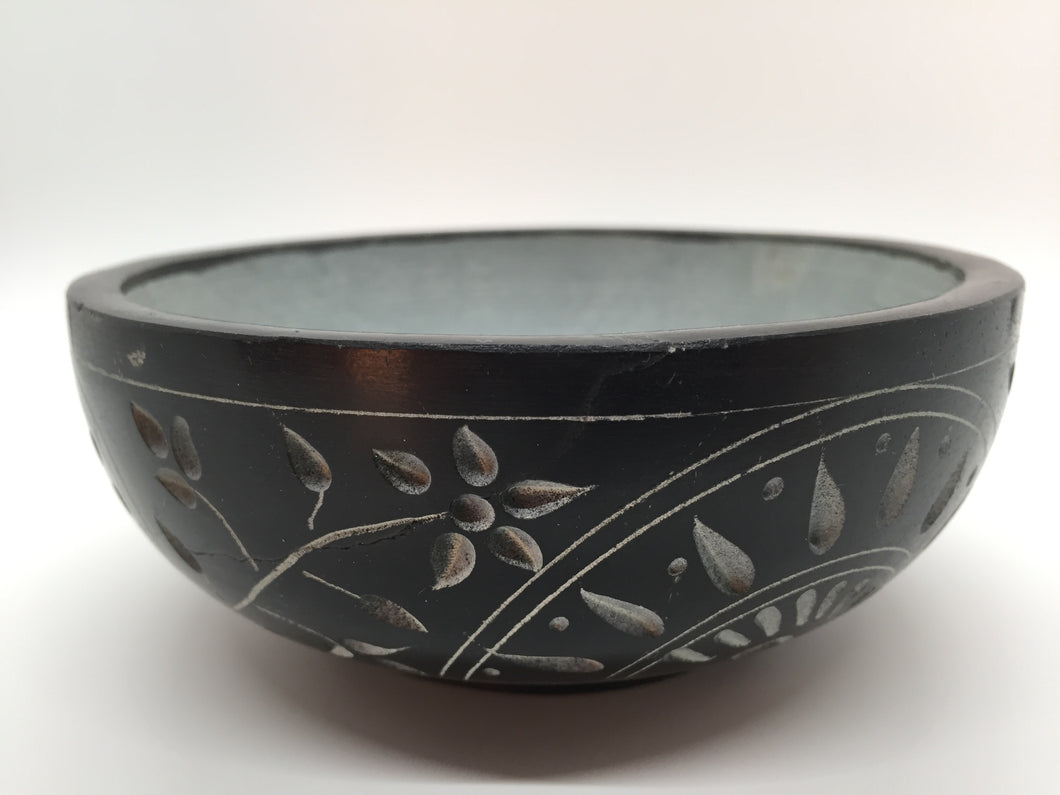 Smudge Plates & Bowls - Black Carved Smudge Bowl